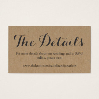 Wedding Website Enclosure Card | Rustic Kraft