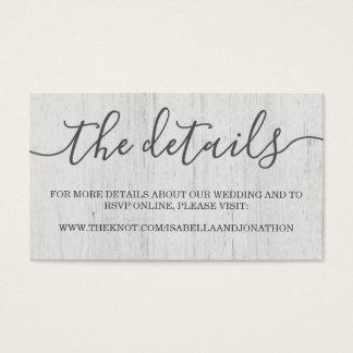 Wedding Website Enclosure Card   Rustic Romantic