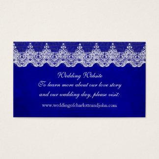 Wedding Website Royal White Blue Cobalt Lace Business Card