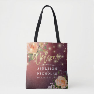 Wedding Welcome Burgundy Chic Floral String Lights Tote Bag