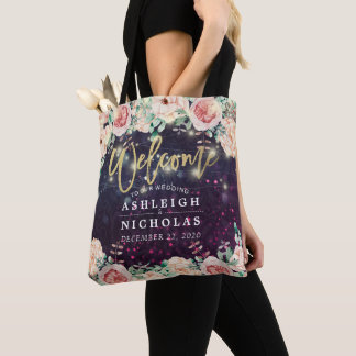 Wedding Welcome Chic Floral Purple Sparkle Lights Tote Bag