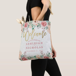 Wedding Welcome Chic Watercolor Floral Gold Script Tote Bag