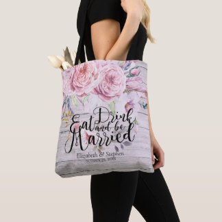 Wedding Welcome Chic Watercolor Floral Rustic Wood Tote Bag