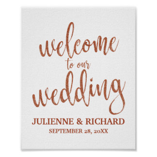 Wedding Welcome Copper Glitter 8x10 Sign