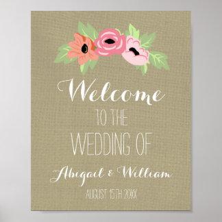 Wedding Welcome Custom Sign Burlap Spring Floral Poster