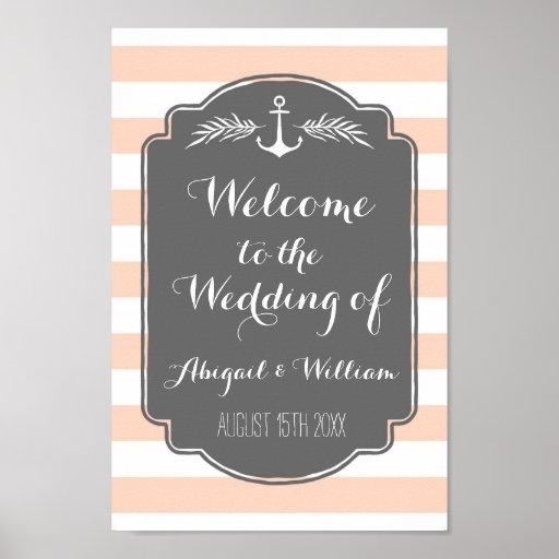 Wedding Welcome Custom Sign Nautical Stripes