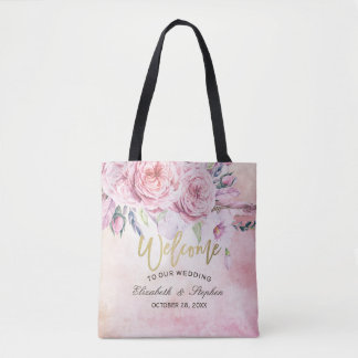 Wedding Welcome Elegant Watercolor Floral Feathers Tote Bag