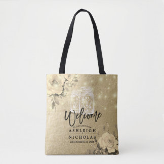 Wedding Welcome Floral Mason Jar String Light Gold Tote Bag