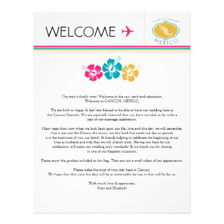 Wedding Welcome Letter for Mexico Customized Letterhead