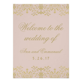 Wedding Welcome Poster | Gold Vintage Glamour