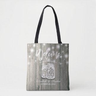 Wedding Welcome Rustic Wood Mason Jar String Light Tote Bag