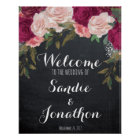 Wedding Welcome sign chalkboard burgundy florals