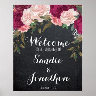 Wedding Welcome sign chalkboard burgundy florals