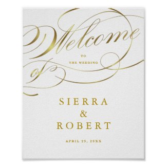 Wedding Welcome Sign Fancy Faux Gold Script