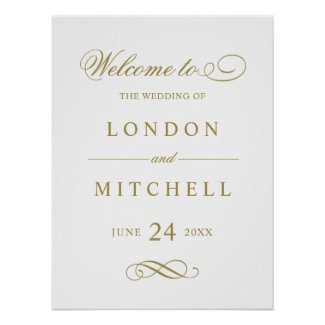Wedding Welcome Sign | Gold Classic Elegance