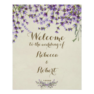 wedding welcome sign ivory Lavender purple floral