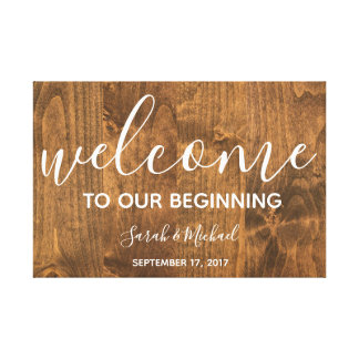 Wedding Welcome Sign on Canvas | Rustic Wood