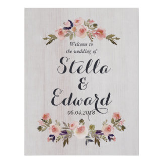 Wedding welcome sign poster
