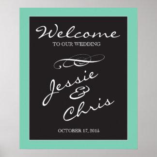 Wedding Welcome sign white on black custom border Poster