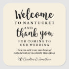 Wedding Welcome Thank You Hotel Custom Favour Bag Square Sticker