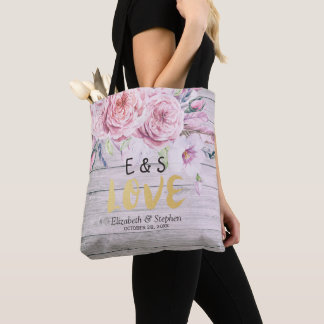 Wedding Welcome  Watercolor Floral Rustic Wood Tote Bag