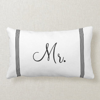 Wedding | White and Black Mr. Lumbar Pillow