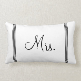 Wedding | White and Black Mrs. Lumbar Pillow