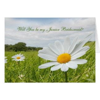 Wedding white daisy Junior Bridesmaid Card