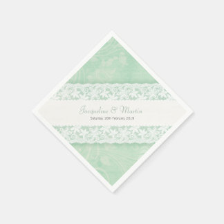 Wedding white lace on mint green paper napkins