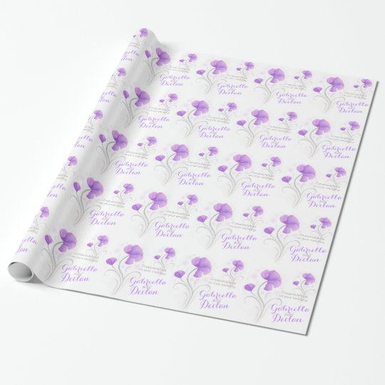 Wedding wildflower purple grey art wrap
