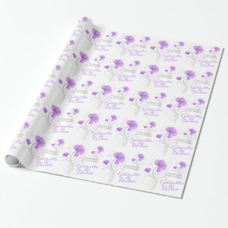 Wedding wildflower purple grey art wrap wrapping paper