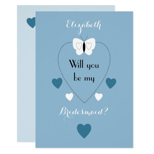 Wedding Will you be my Bridesmaid white and blue Card