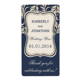 Wedding wine bottle label Elegant blue and brown Shipping Label