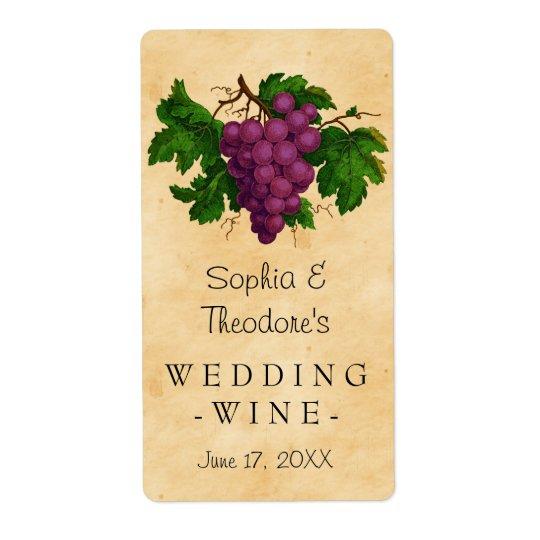 Wedding Wine Elegant Vintage Purple Grapes Custom Shipping Label