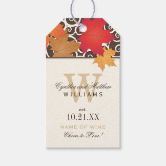 Wedding Wine Favor Tag | Autumn Leaves