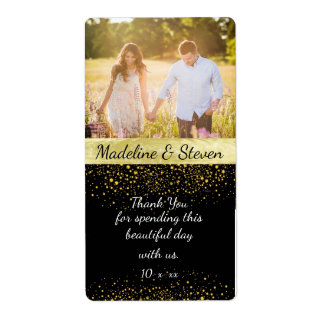 Wedding Wine, Gold Confetti, Custom Photo Shipping Label