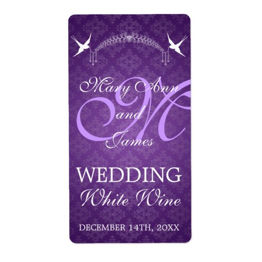 Wedding Wine Label Birds Monogram Purple Shipping Label