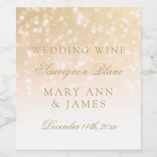 Wedding Wine Label Blush Gold Bokeh Sparkle Lights