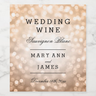 Wedding Wine Label Copper Glitter Lights