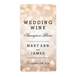 Wedding Wine Label Copper Glitter Lights Shipping Label