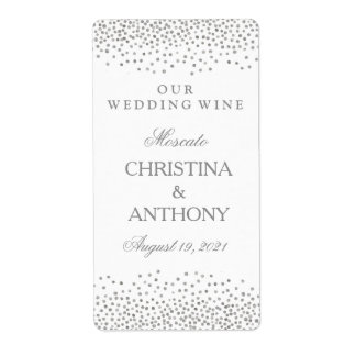 Wedding Wine Label Elegant Silver Confetti