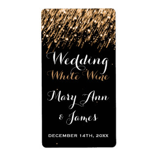 Wedding Wine Label Falling Stars Gold Shipping Label