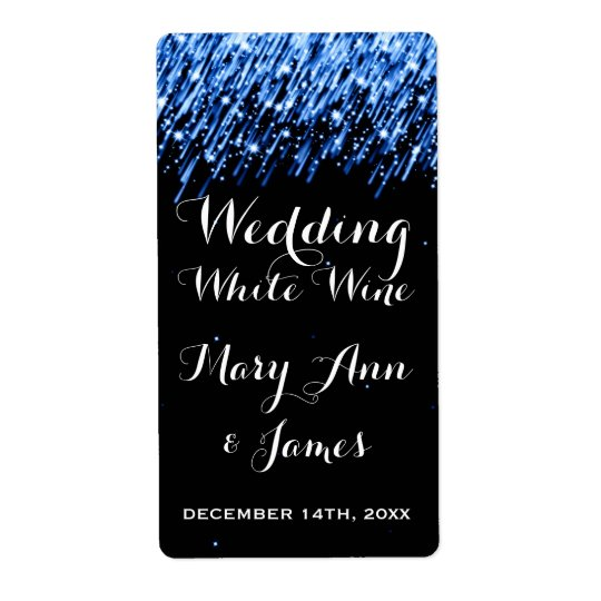 "Wedding Wine Label Falling Stars ""Sapphire Blue"" Shipping Label"