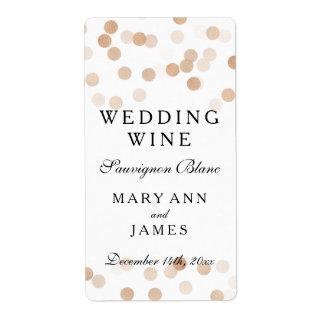 Wedding Wine Label Faux Copper Foil Glitter Lights Shipping Label
