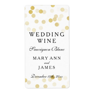 Wedding Wine Label Faux Gold Foil Glitter Lights Shipping Label