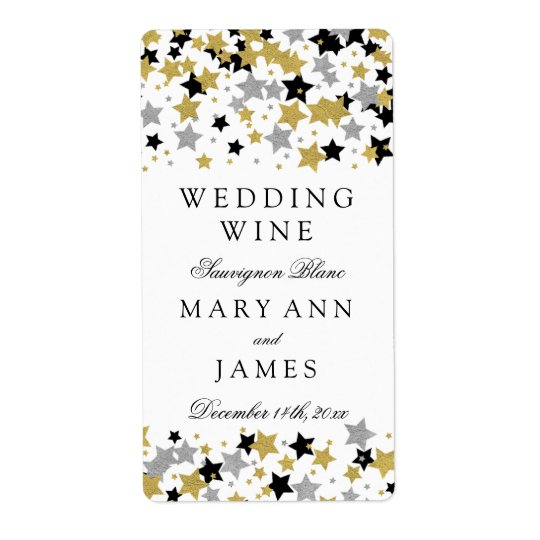 Wedding Wine Label Gold Glitter Stars Confetti