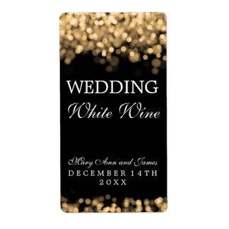 Wedding Wine Label Gold Lights Shipping Label