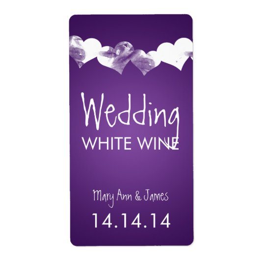 Wedding Wine Label Grunge Hearts Purple Shipping Label