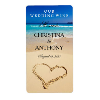 Wedding Wine Label Heart on the Shore Beach