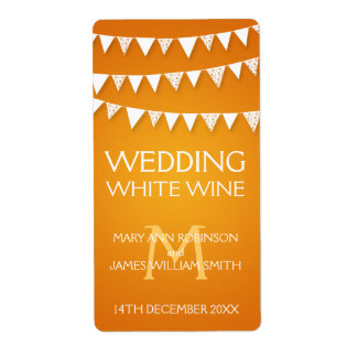 Wedding Wine Label Love Bunting Monogram Orange Shipping Label